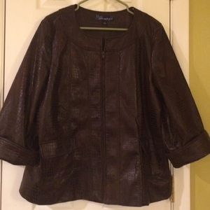 SUSAN GRAVER  - Croc print. Chocolate Zip-Jacket